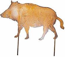 Gartenstecker Wildschwein Metall Rost Gartendeko