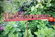 Gartenstecker Willkommen 111cm Metall Rost Gartendeko Edelros