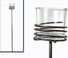 Gartenstecker Windlicht Spirale Metall/Glas (919768) Gartendeko Beetstecker