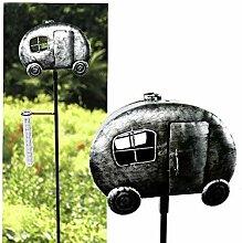 Gartenstecker Wohnwagen mit Regenmesser im Antik