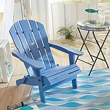 Gartenstuhl Anker - Adirondack Chair klappbar - Maritimer Look - Holz - Blau