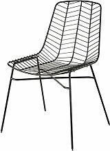 Gartenstuhl aus Metall mit Lochmuster, mattschwarz