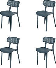 Gartenstuhl Kunststoff dunkelblau 4er Set - Jala