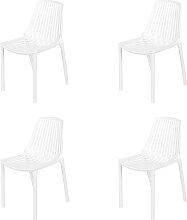 Gartenstuhl Kunststoff weiß 4er Set - Sparo