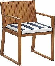 Gartenstuhl mit Sitzkissen Marineblau Hellbraun