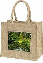 Gartenteich Große natürliche Jute Einkaufstasche Weihnachtsgeschenk