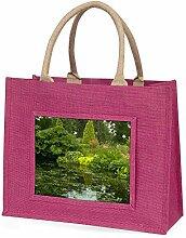 Gartenteich Große rosa Jute Einkaufstasche Weihnachtsgeschenk
