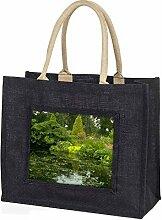 Gartenteich Große schwarze Jute -Einkaufstasche Weihnachtsgeschenk