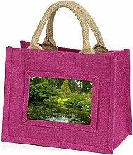 Gartenteich Kleine Mädchen rosa Einkaufstasche Weihnachtsgeschenk