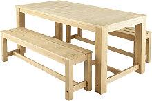 Gartentisch + 2 Bänke aus Holz, B 180cm Bréhat