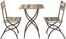 Gartentisch + 2 Stühle aus Recyclingholz und