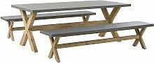 Gartentisch 200x100 cm und 2 Bänke Beton