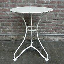 Gartentisch aus Stahl mit runder Platte, 1930er