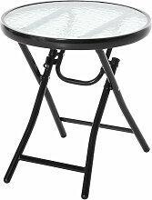 ® Gartentisch Bistrotisch mit Glasplatte rund