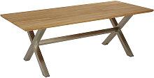 GARTENTISCH Holz, Metall Edelstahlfarben,