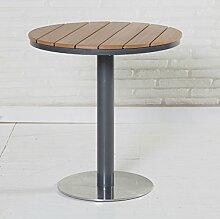 Gartentisch in natur 70cm rund Edelstahl-Fuß