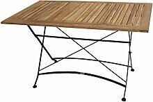 Gartentisch, Klapptisch, Gartenklapptisch, Balkontisch, Terrassentisch, Teakholz, Holztisch, Stahlgestell, rechteckig