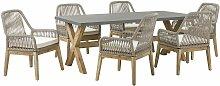 Gartentisch mit 6 Geflecht-Stühlen Grau Beton