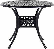 Gartentisch schwarz Aluminium runde Form Bistro