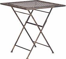 Gartentisch Schwarz Metall Quadratisch Klappbar 70