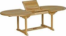 Gartentisch Teak roh: Tisch oval ausziehbar