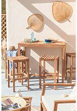 Gartentisch und 4 hohe Hocker aus Teakholz Pira