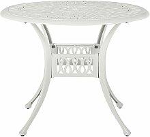Gartentisch weiß Aluminium runde Form Bistro