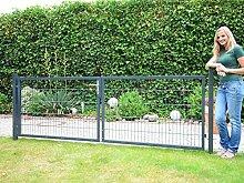 Gartentor 2-flgl. zum Doppelstabmattenzaun anthrazit - Höhe 80 cm / Breite 300 cm