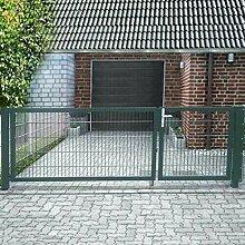 Gartentor Einfahrtstor asymmetrisch Grün