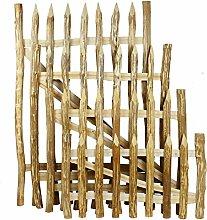 Gartentor Haselnuss für Staketenzaun 100 x 120 cm - Robustes und Witterungsbeständiges Staketenzaun Tor
