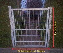 Gartentor Hoftor / Verzinkt / Tor-Einbau-Breite: 100 cm - Tor-Einbau-Höhe: 143 cm - Inklusive 2 Pfosten (60mm x 60mm) / Mattentor