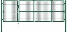 Gartentor mit Pfosten 350 x 100 cm Stahl Grün