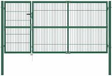Gartentor mit Pfosten 350 x 140 cm Stahl Grün