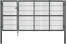 Gartentor mit Pfosten Stahl 350×120 cm Anthrazit