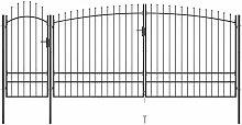 Gartentor mit Speerspitzen 5x2,45 m Schwarz