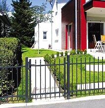 Gartentor mit Spitzen / Grau beschichtet / Breite 100cm x Höhe 120cm / Inkl.: Zylinder-Schloss mit 2 Schlüsseln / Drücker-Garnitur / 1 Satz Montage-Material