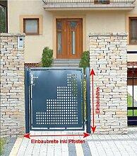 Gartentor Pforte Pulver Grau Hoftor Einfahrtstor Tür Tor Törchen 125cm x 100cm