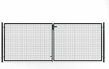 Gartentor Tor Doppelflügeltor inkl Pfosten 400x150 cm Anthrazit Einfahrtstor Hoftor