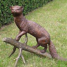Gartentraum Edle Steinmarder Figur aus Bronze,