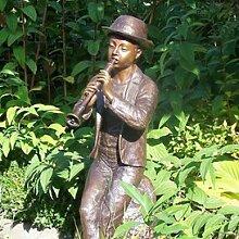 Gartentraum Flötenspieler Figur aus Bronze -
