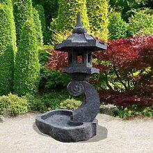 Gartentraum Gartenlaterne mit Vogelbad Naturstein - Hadano, Schwarz