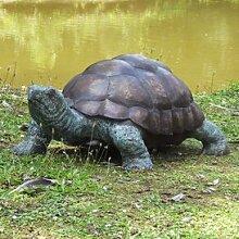 Gartentraum Große Bronze Figur mit Schildkröte -