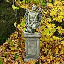 Gartentraum Großer Garten Steinengel - Lean, Antikgrau