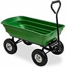 Gartenwagen mit Kippfunktion, Lenkachse Ruftreifen Bollerwagen Muldenkipper Kippwagen Transportkarre Gartenkarre