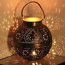 Gartenwindlicht ø 28cm grosses Windlicht Metall Kugel Laterne Punita mit Blumenmotiv
