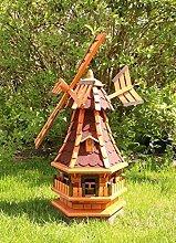 Gartenwindmühle mit Solar rot Typ 4.1
