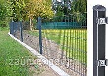 Gartenzaun 20 Meter komplett Höhe: 1630 mm Farbe anthrazit RAL 7016 Doppelstabgittermattenzaun