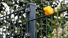 Gartenzaun 20 Meter komplett Höhe 630 mm Farbe anthrazit RAL 7016 Doppelstabgittermattenzaun