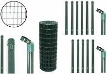 Gartenzaun Set Premium - Größen wählbar - Maschung 7,5 x 5 cm - Schweißgitterzaun Zaunset Zaunpfosten Maschendraht Komplettset (0,8 x 10 Meter)