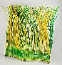Gartenzaun Weidenzaun grün/gelb HxB: ca.100x95cm, Holz mit Metallverstärkung